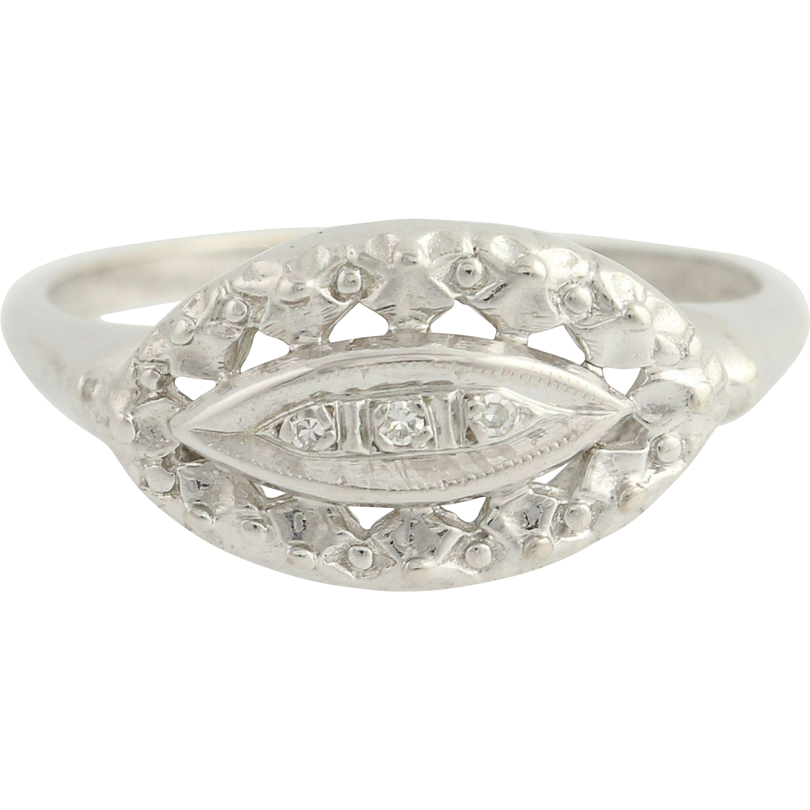Vintage Diamond-Accented Ring - 10k White Gold Women's .02ctw