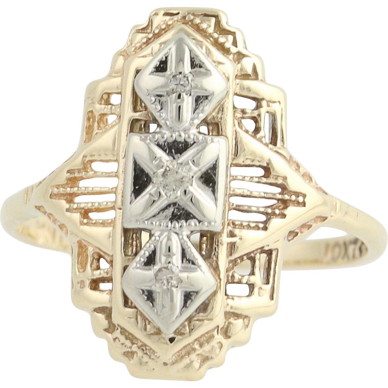 Vintage Diamond-Accented Ring - 10k Yellow & White Gold .02ctw