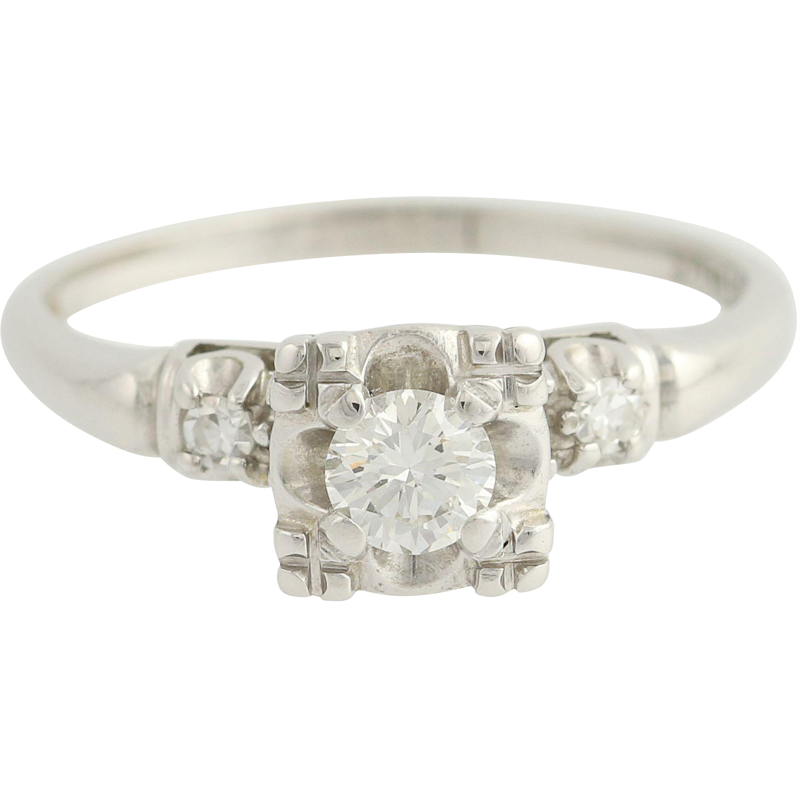 Vintage Engagement Ring - 14k White Gold 3-Stone Solitaire Accents Round 0.36ctw