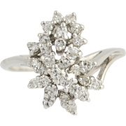 Diamond Cluster Bypass Ring - 14k White Gold April Birthstone .65ctw
