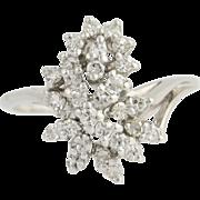 Diamond Cluster Bypass Ring - 14k White Gold April Birthstone .65ctw