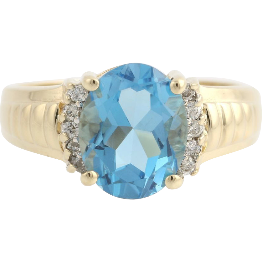 Blue Topaz and Diamond Cocktail Ring - 10k Yellow & White Gold 7 Genuine 3.58ctw