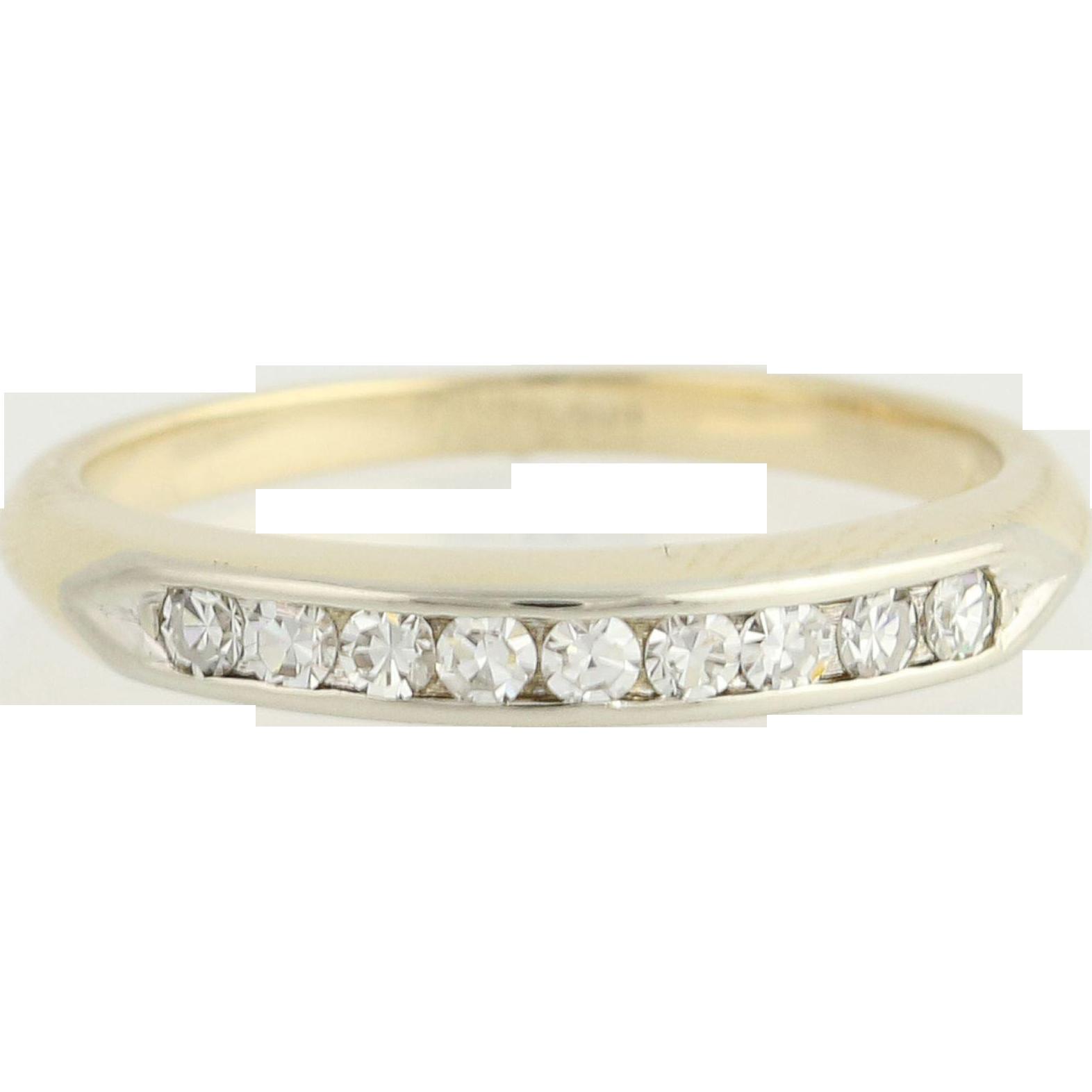 Vintage Diamond Wedding Band - 14k Yellow & White Gold .27ctw