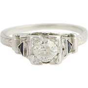 Art Deco Diamond & Syn. Sapphire Engagement Ring - 18k White Gold .52ct
