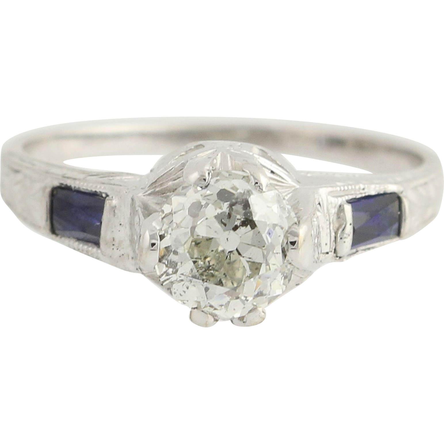 Art Deco Diamond & Syn. Sapphire Engagement Ring - 18k White Gold 1.01ct