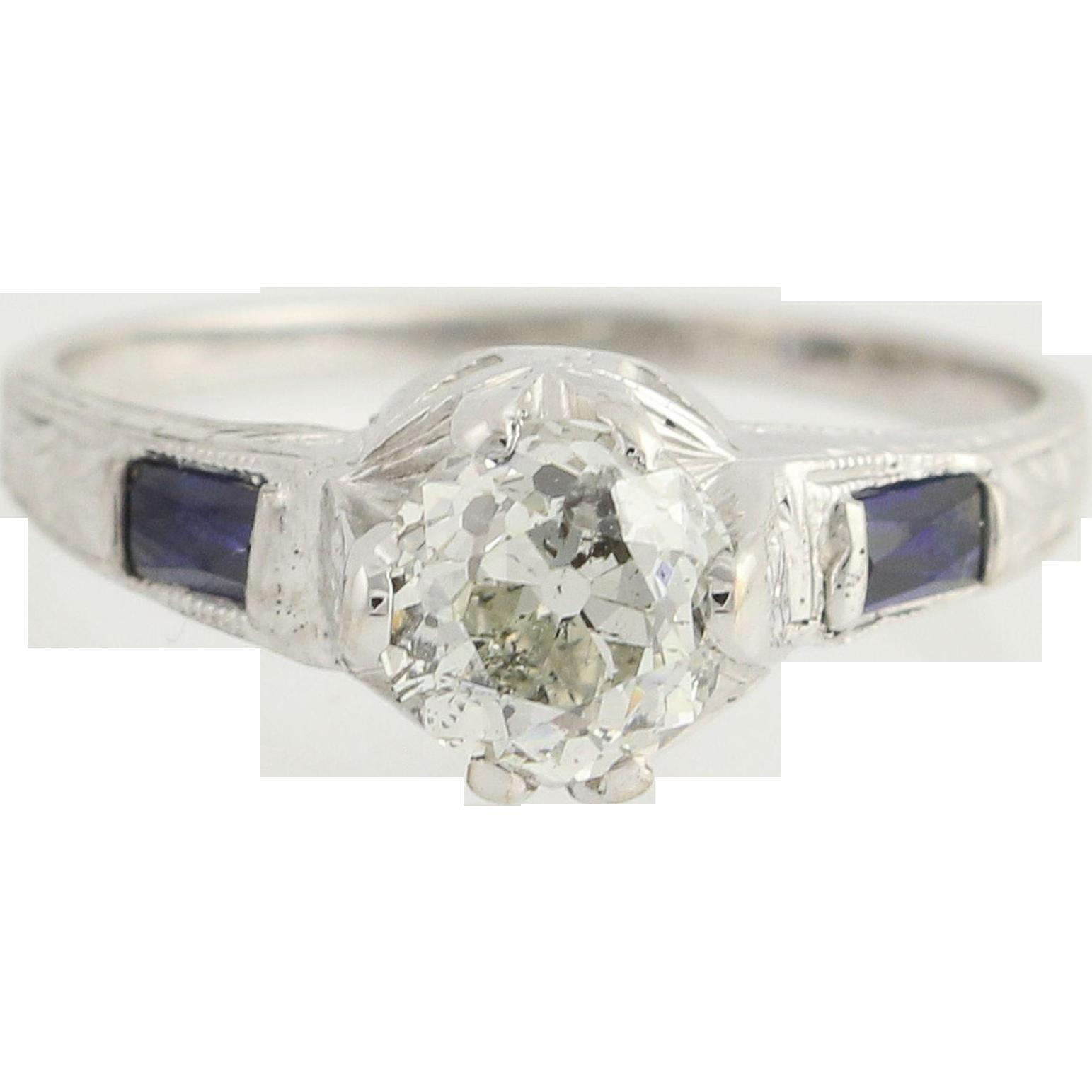 Art Deco Diamond & Syn. Sapphire Engagement Ring - 18k White Gold 1.01ct