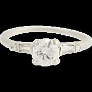 Vintage Folger Diamond Engagement Ring - 900 Platinum .84ctw