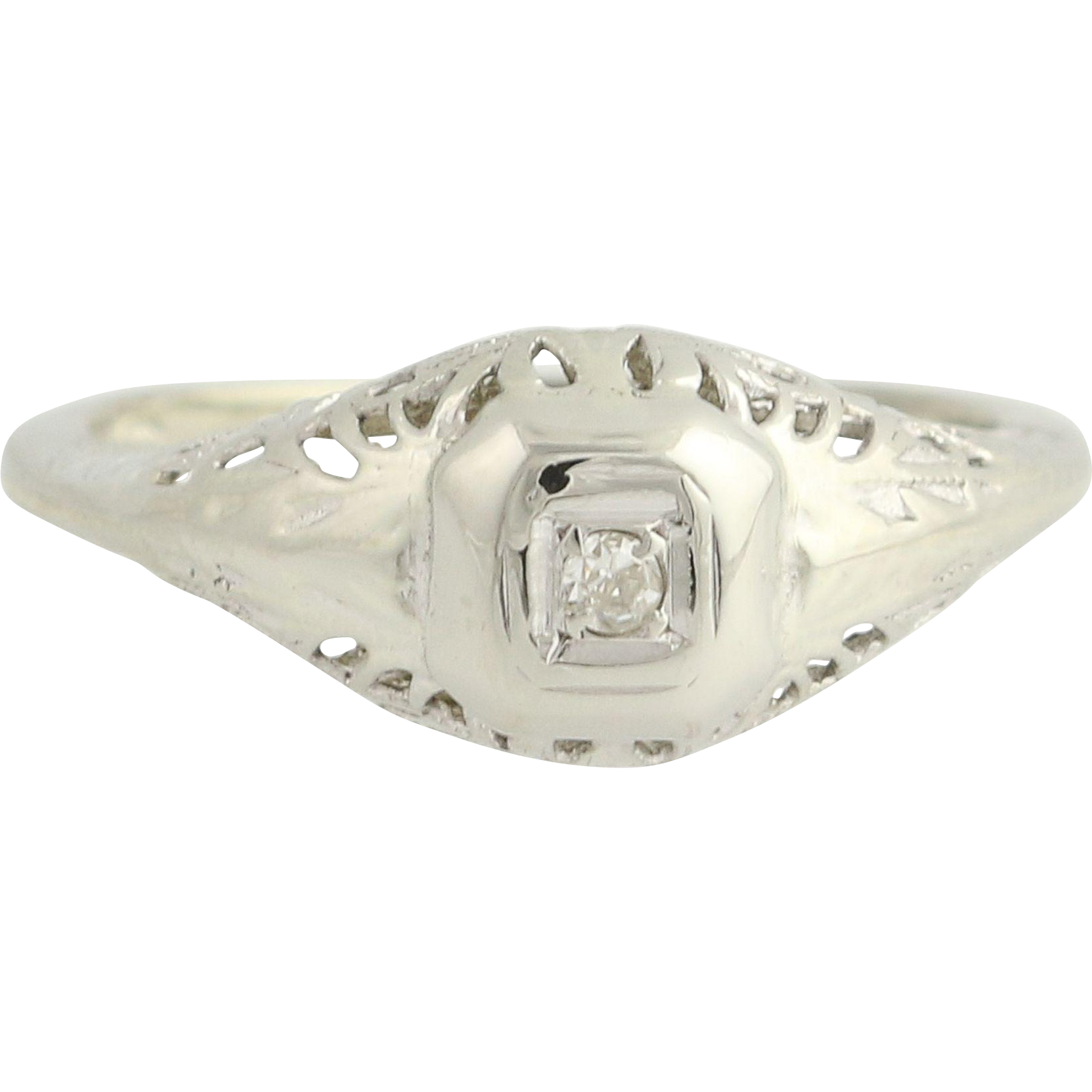 Art Deco Diamond Ring - 14k White Gold Filigree 1920s-30s Engagement Women's