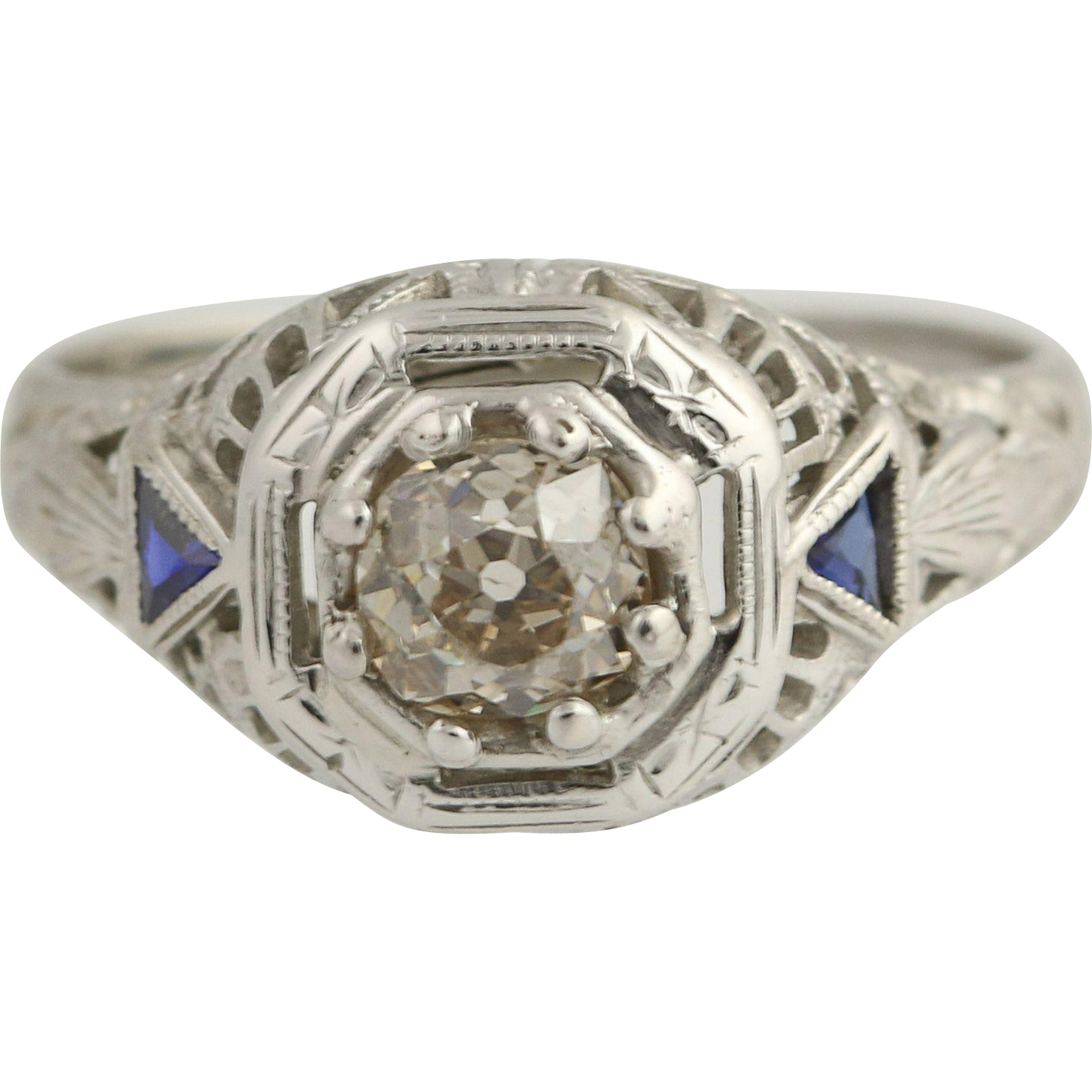 Art Deco Diamond & Synthetic Sapphire Ring - 18k White Gold Vintage .50ct