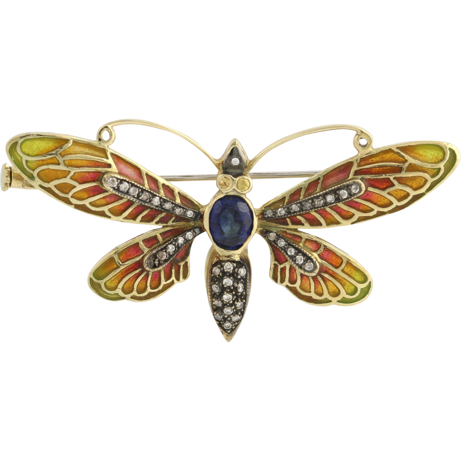 Vintage Moth Brooch Pin - 14k Yellow Gold Plique-a-jour Enamel Gemstone 1.49ctw