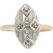Vintage Diamond-Accented Ring - 14k Yellow & White Gold Women's .03ctw