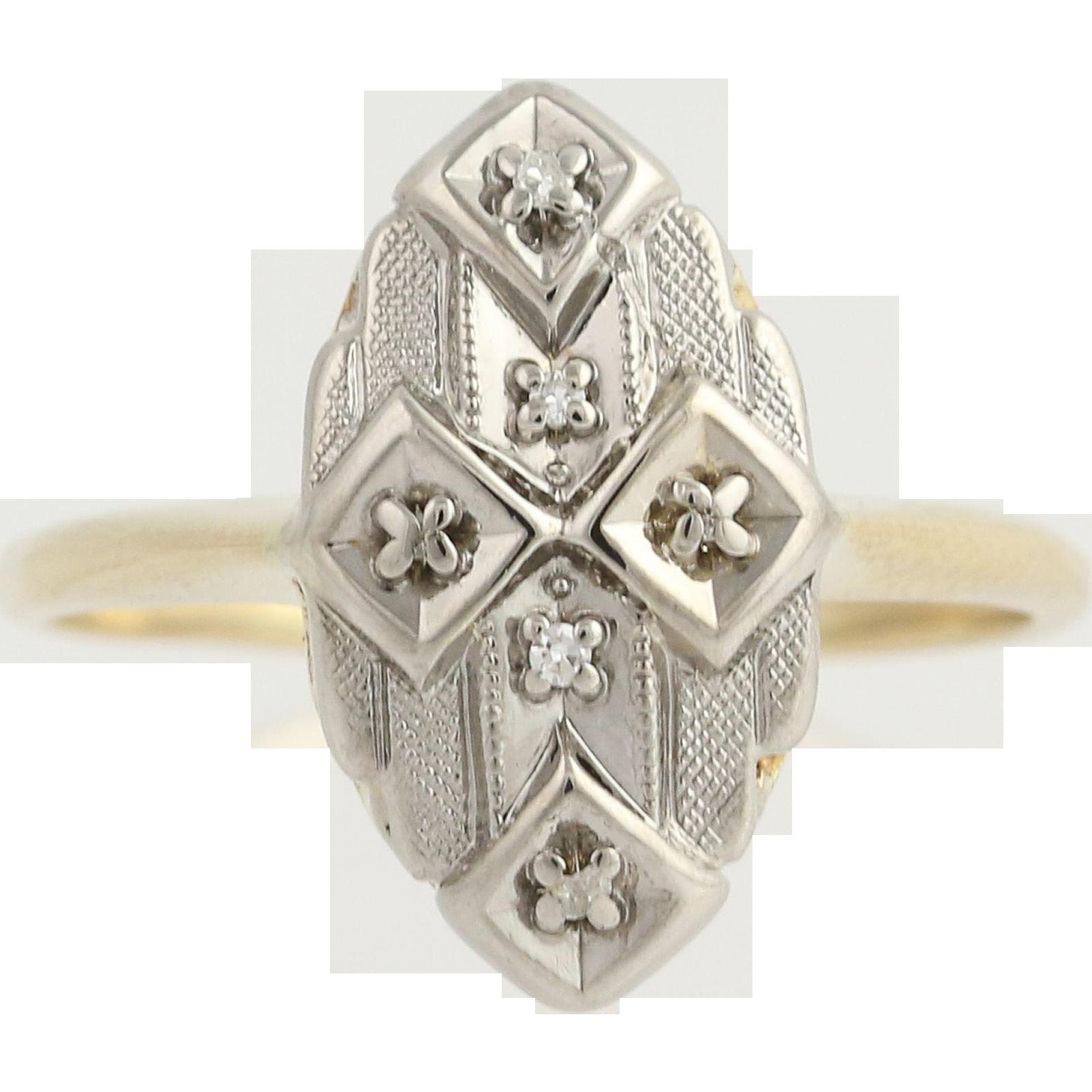 Vintage Diamond-Accented Ring - 14k Yellow & White Gold Women's .03ctw