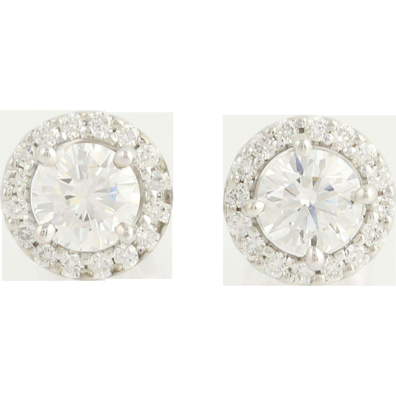 Diamond Stud Earrings - 18k White Gold Halo Pierced 1.35ctw