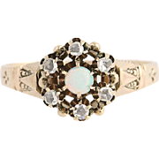 Victorian Opal & Diamond Ring - 10k Yellow Gold October Birthstone Antique Gift