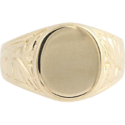Men's Engravable Signet Ring - 14k Yellow Gold Size 10 3/4 - 11 Heirloom Gift