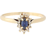 Blue Sapphire Diamond Halo Ring - 14k Yellow Gold Women's Marquise 0.21ctw