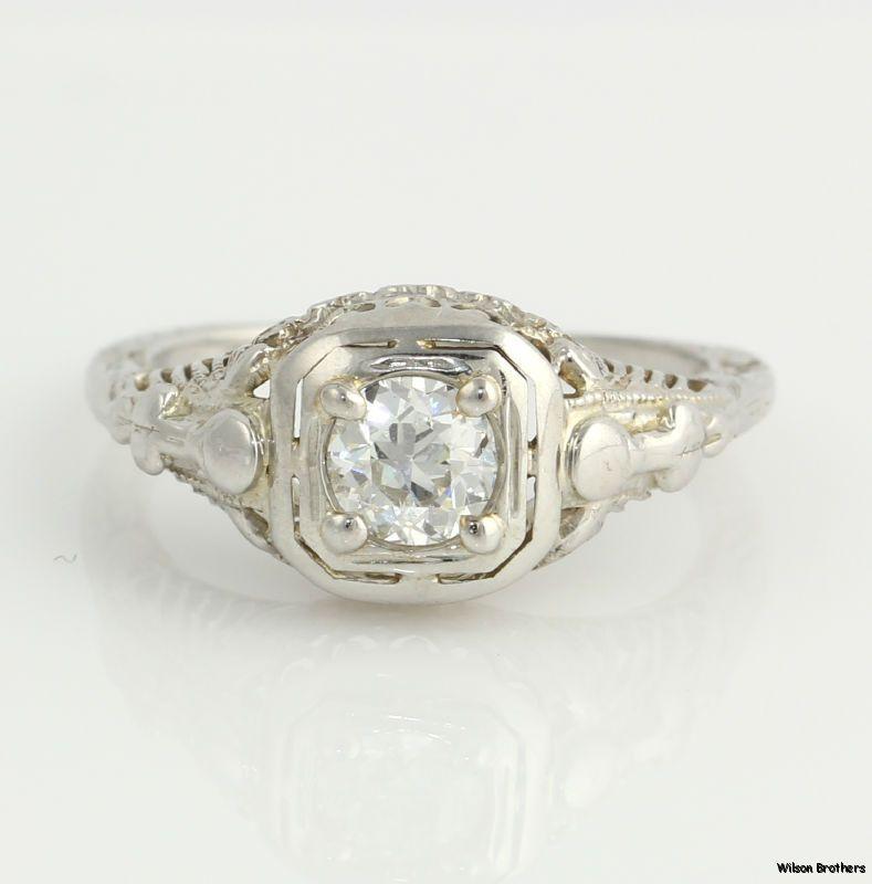 .42ct VVS2 F-G Genuine European Diamond Vintage Engagement Ring - 18k White Gold