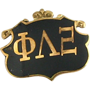 Antique Phi Lambda Xi Pin - 10k Gold c1890s Fraternity Sorority Unique