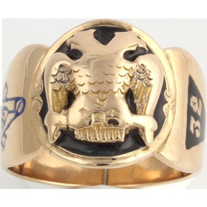 Vintage Scottish Rite Cigar Style Band - 10k Gold Ring c.1880-90 Enamel Sz 9.75