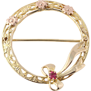 Vintage Two-Toned Wreath Brooch - 10k Yellow & Rose Gold Syn. Ruby Fine .10ctw