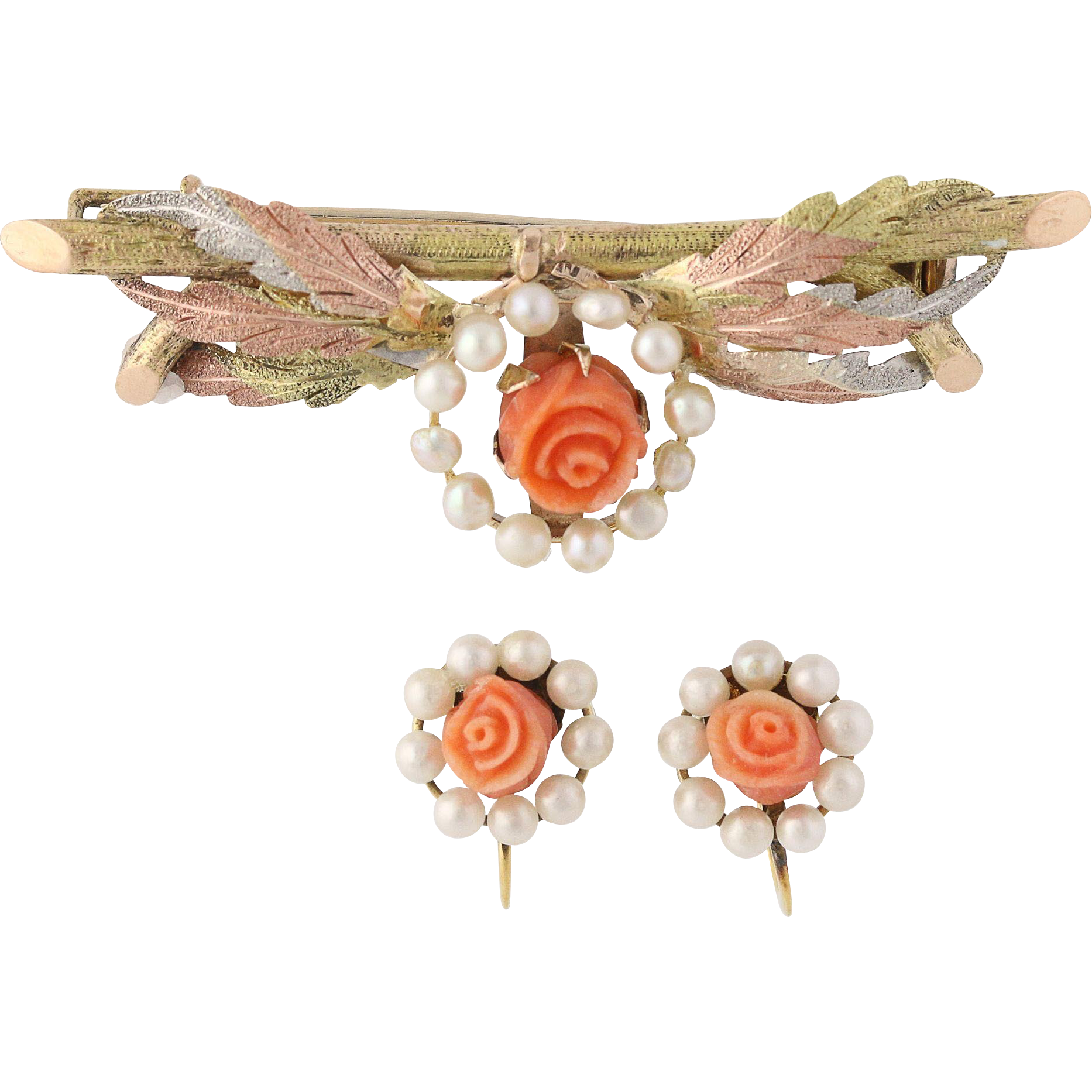 Victorian Carved Coral & Pearl Earrings & Brooch - 14k & 10k Gold & Gold Filled
