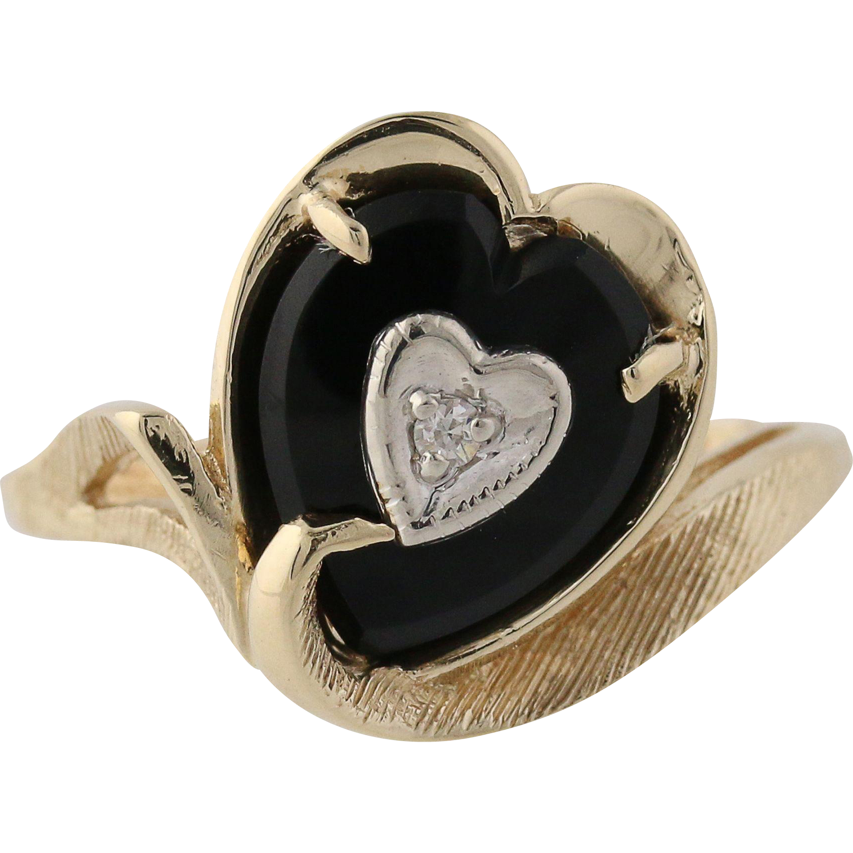 Vintage Onyx Heart Cocktail Ring - 14k Yellow Gold Black Genuine Women's