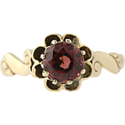 Victorian Floral Garnet Ring - 14k Yellow Gold January Birthstone Genuine .80ctw
