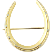 Antique Horseshoe Brooch - 14k Yellow & White Gold Equestrian Good Luck