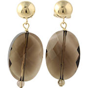 Smoky Quartz Drop Earrings - 14k Yellow Gold Fine Estate Pierced Women's Gift