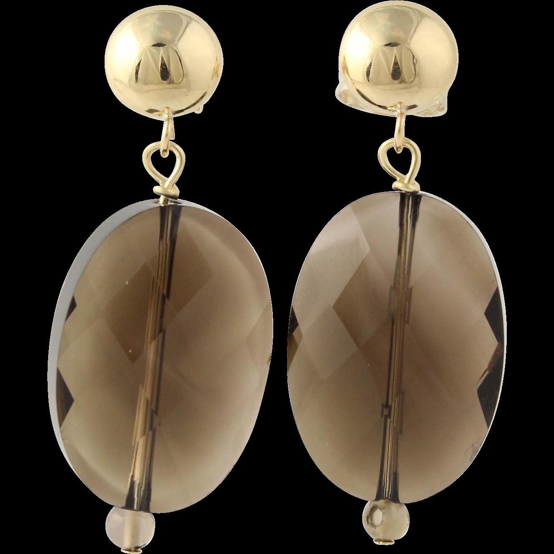 Smoky Quartz Drop Earrings - 14k Yellow Gold Fine Estate Pierced Women's Gift