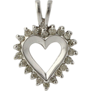 Heart Shaped Diamond Pendant - 10k White Gold Women's Fine Estate Love Charm