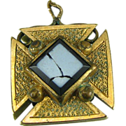 Victorian Cross Pendant - Vintage Stone Antique Charm