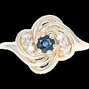 Sapphire & Diamond Bypass Ring - 14k Yellow Gold Round Cut .37ctw