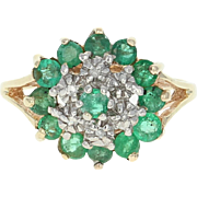 Emerald w/ Diamond Accents Ring - 10k Yellow Gold Cluster Cocktail