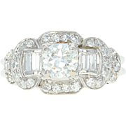 Art Deco Diamond Ring - Platinum 6 1/4 Vintage European Cut 1.45ctw
