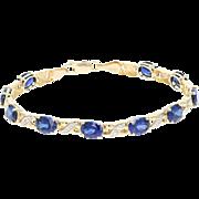 "Synthetic Sapphire Link Bracelet 7 1/2"" - 10k Gold Diamond Accents 15.00ctw"
