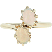 Two-Stone Opal Bypass Ring - 10k Yellow Gold Cabochon Cut .97ctw