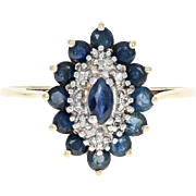 Sapphire & Diamond Cluster Halo Ring - 10k Yellow Gold Marquise Brilliant .87ctw
