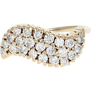 Diamond Cluster Bypass Ring - 14k Yellow Gold Round Cut .77ctw