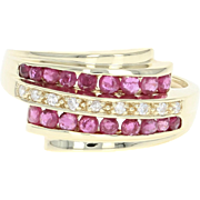 Ruby & Diamond Bypass Ring - 14k Yellow Gold Round Brilliant .99ctw
