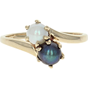 Cultured Pearl Bypass Ring - 10k Yellow Gold 4.6-4.9mm