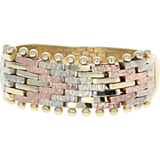 Italian Woven Band Ring - 14k Yellow, White, & Rose Gold Size 6 1/2 - 6 3/4