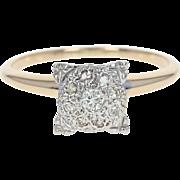 Vintage Diamond Ring - 14k Yellow Gold Illusion Solitaire Round Brilliant .12ctw
