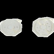 Art Deco Belais Cuff Links 14k White Gold Groom Gift