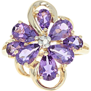 Amethyst Flower Ring - 14k Yellow Gold Diamond Accent Pear Brilliant 2.11ctw