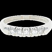 Vintage Diamond Wedding Band - Platinum Five-Stone Ring Single Cut .30ctw