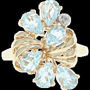 Blue Topaz Ring - 10k Yellow Gold Diamond Accent Pear Brilliant 3.01ctw