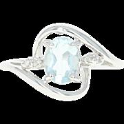 Aquamarine & Diamond Bypass Ring - 14k White Gold Oval Brilliant Cut 1.02ctw