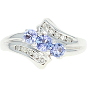 Tanzanite & Diamond Bypass Ring - 14k Gold Three-Stone with Accents .78ctw