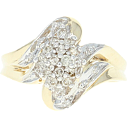 Diamond Cluster Ring - 10k Yellow Gold Bypass Round Brilliant .25ctw